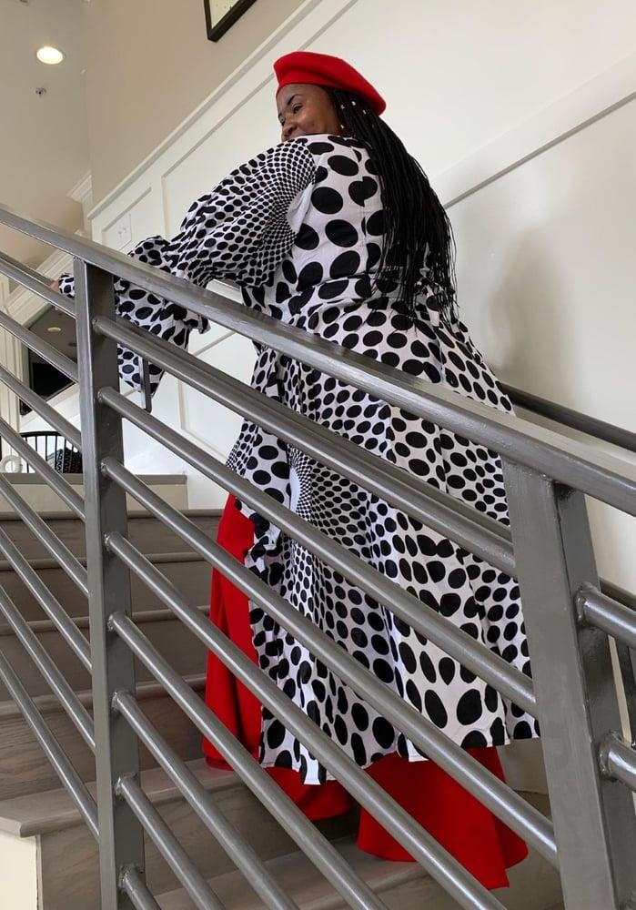Image of Prettyella Deville- Polka Dot Black/White Wrap Dress/Blouse One Size Fits Med to 2XL