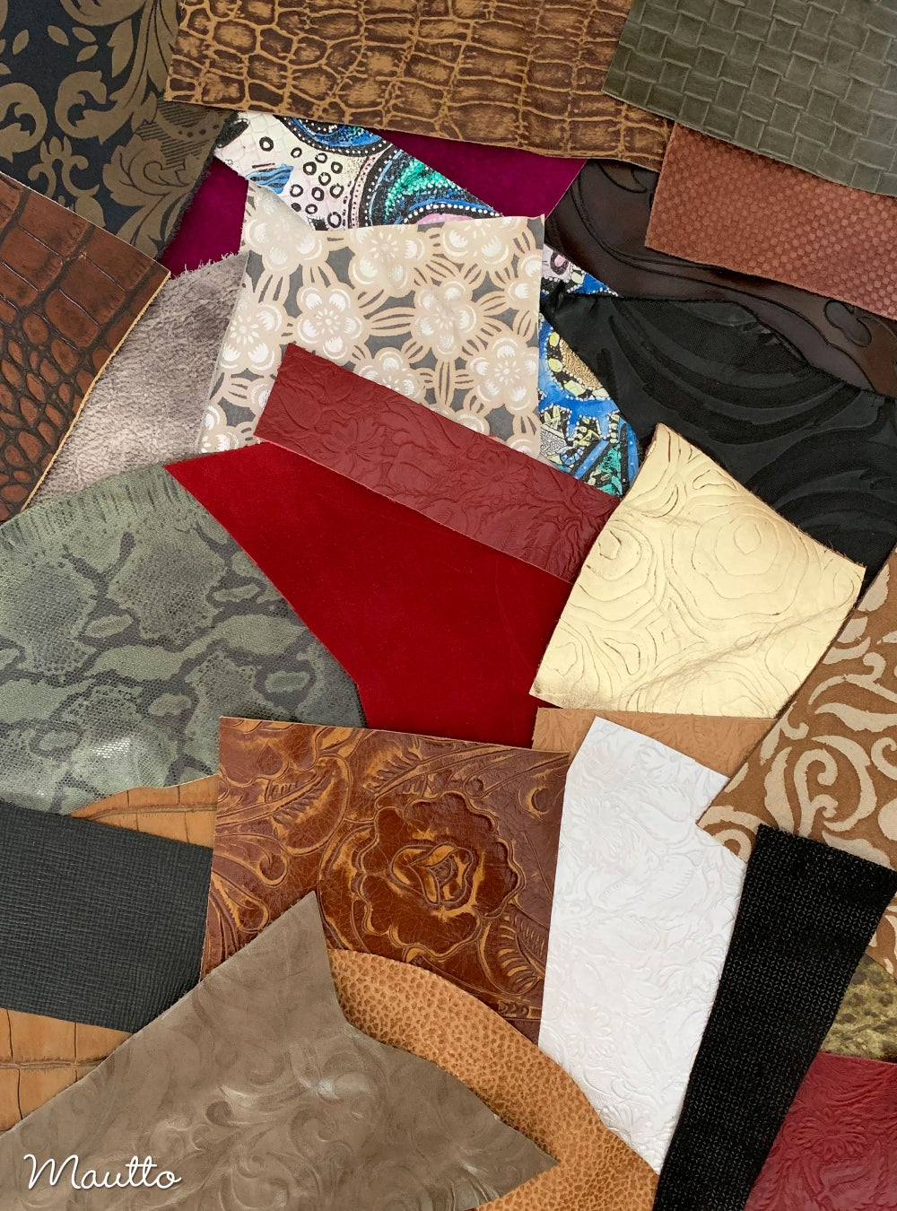 Image of Embossed & Printed Leather Pieces - 1 Pound Bag of Scraps & Remnants - for Crafts, Art, DIY Projects