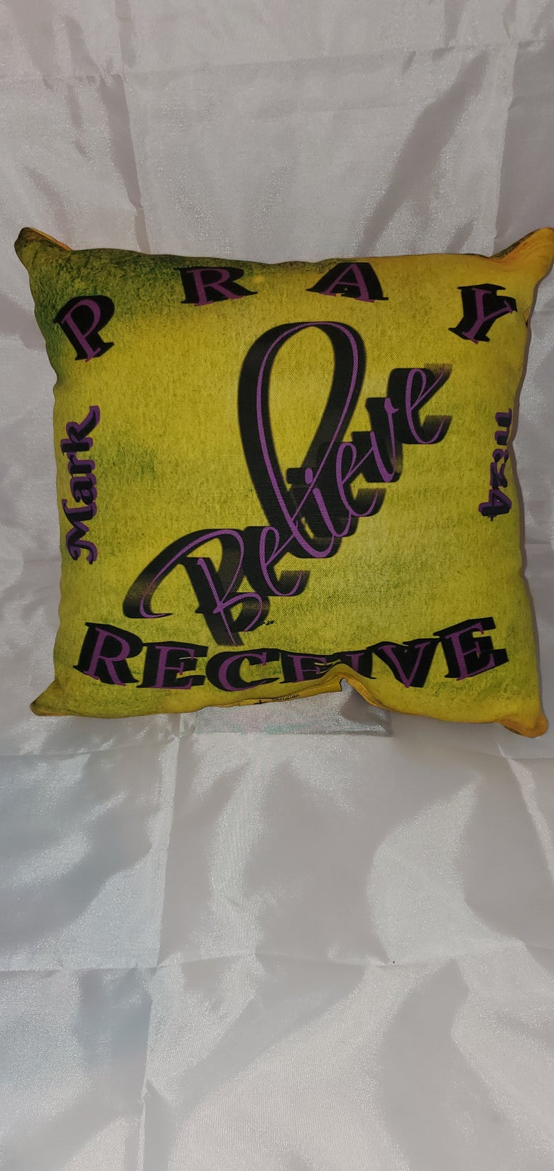 "Image of Pray/Beleve/Recieve 12"" x 12""  2-sided pilliow"