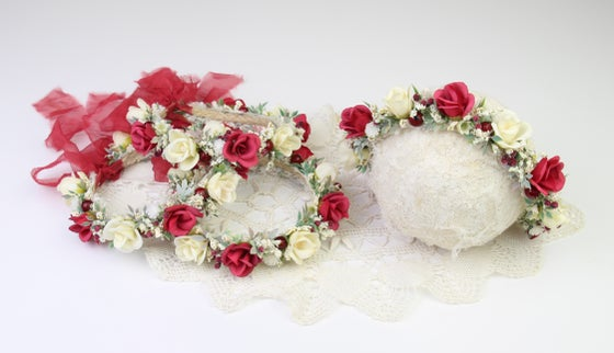 Image of Red & Ivory Floral Halo/Silk Tieback