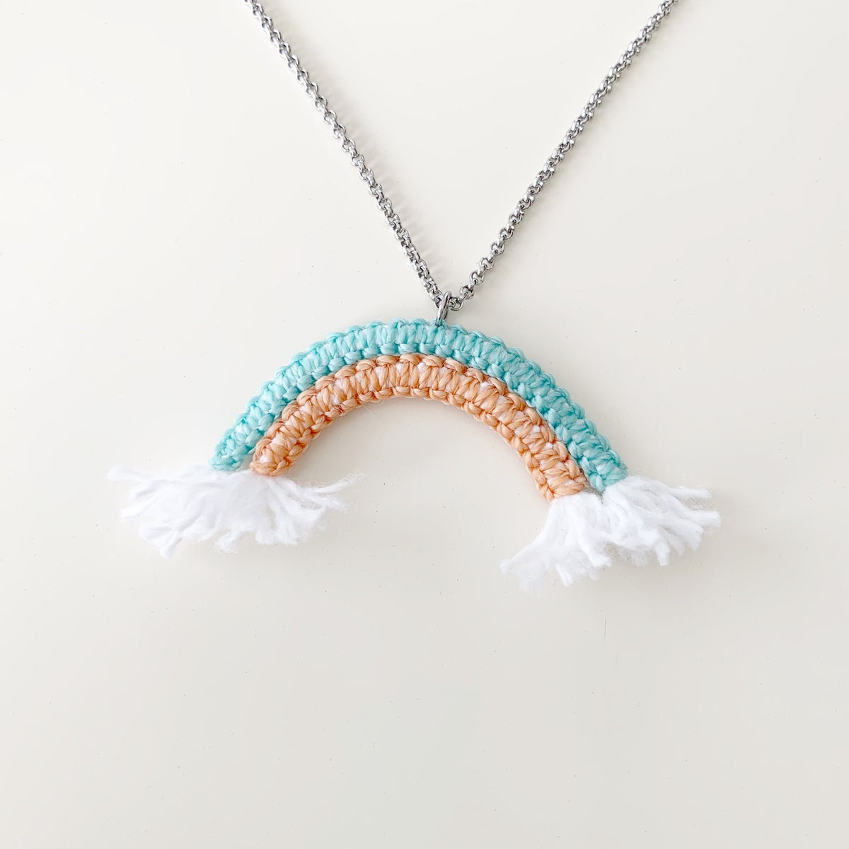 Image of Peachy Mint Rainbow Necklace