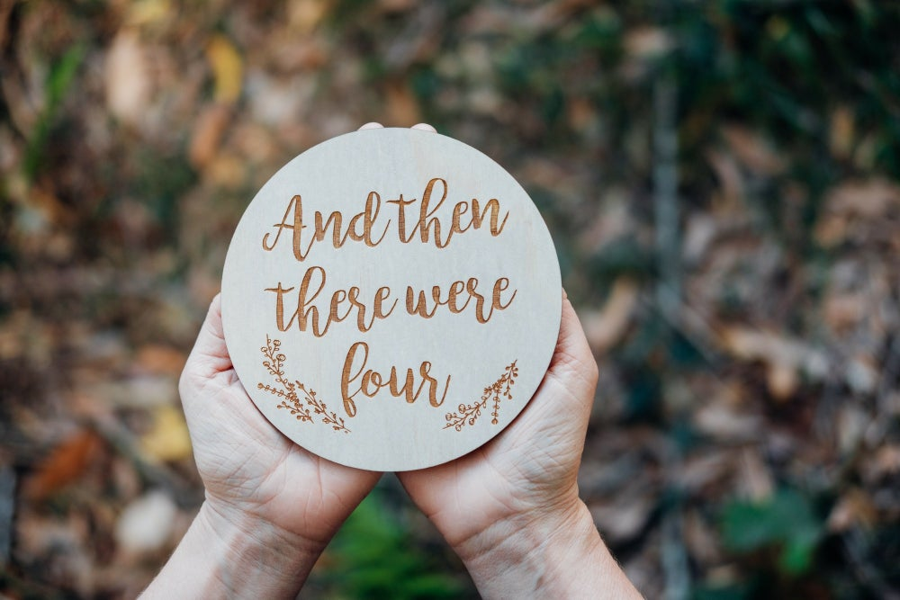 Image of 'AND THEN THERE WERE [insert number]' PREGNANCY ANNOUNCEMENT PLAQUE