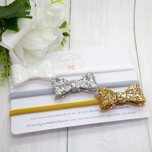Image of SET OF 3 Glitter Bows on Headbands or Clips - White/Silver/Gold