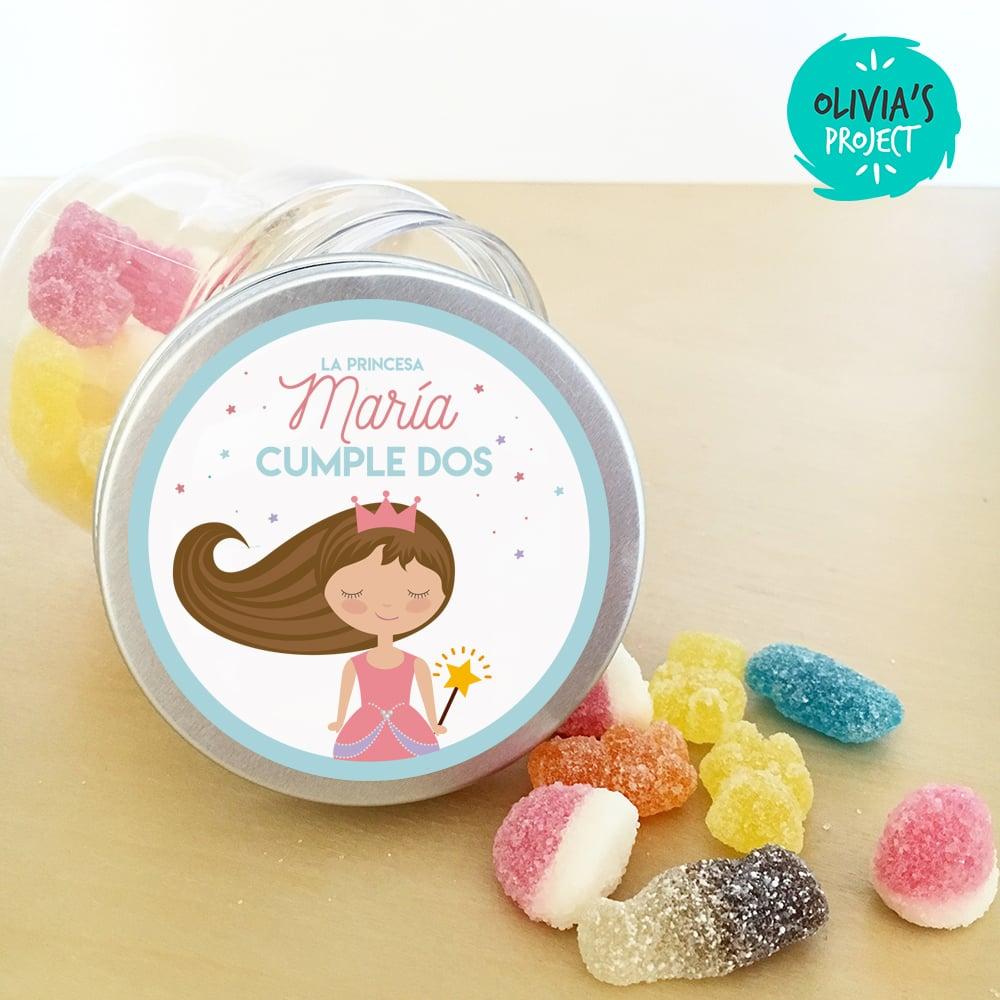 Image of Tarritos de chuches cumple - Princesa Personalizada