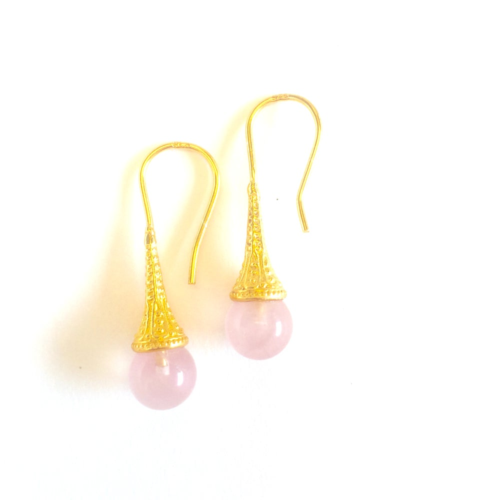 Image of Indian summer hook earrings- Rose Quartz