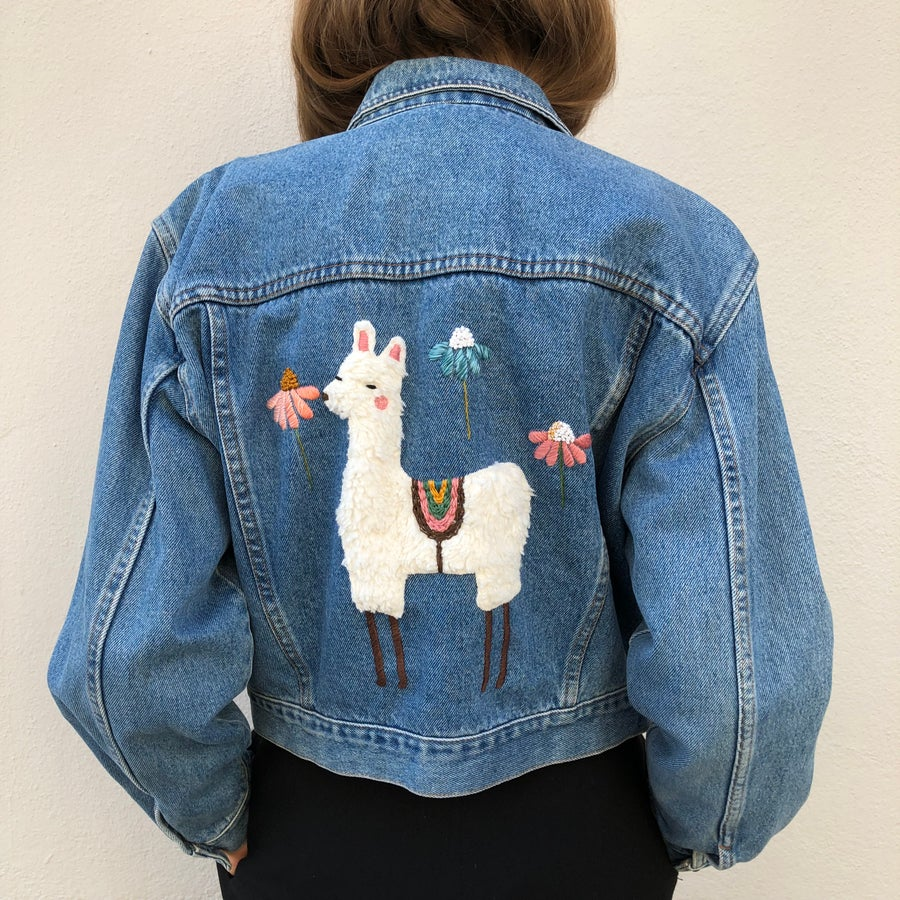 Image of Customized Jacket: Big Alpaca hand embroidered collage on vintage denim jacket