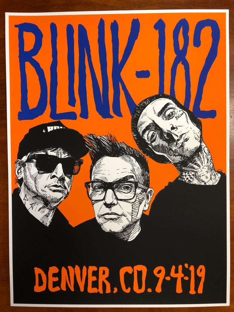 "Image of BLINK-182 Sep 4 2019 DENVER 18"" X 24"" silk screen concert poster Pepsi Center"