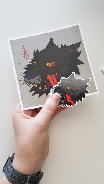 Image of Stress Wolf Print + Sticker Pack