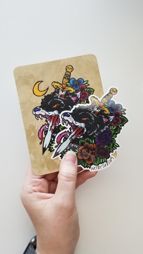 Image of Dagger Wolf Print + Sticker Pack