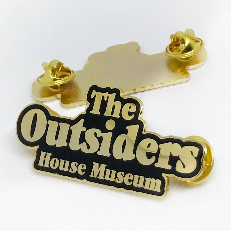 Image of The Outsiders House Museum Gold Logo Pin