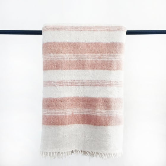 Image of Rayas Handmade Blush Striped Momos Wool Blanket