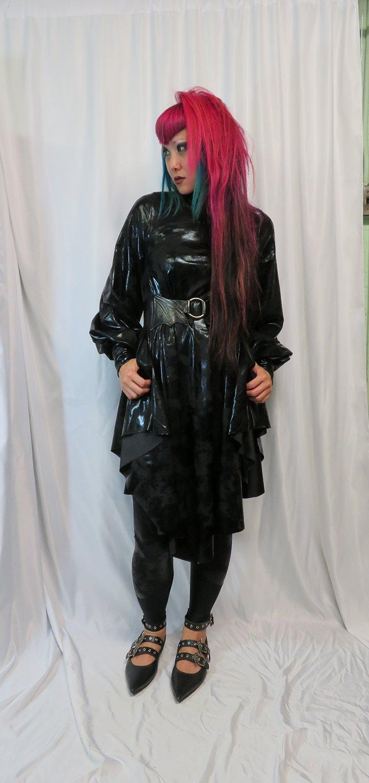 Image of Antique Foil Black Bishop Sleeve dress