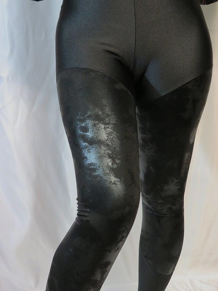 Image of Black Antique Holographic Foil leggings