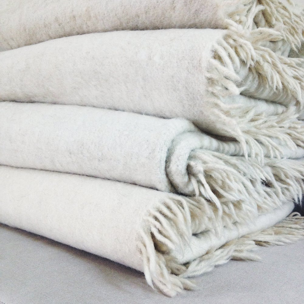 Image of Cream Handmade Momos Wool Blanket