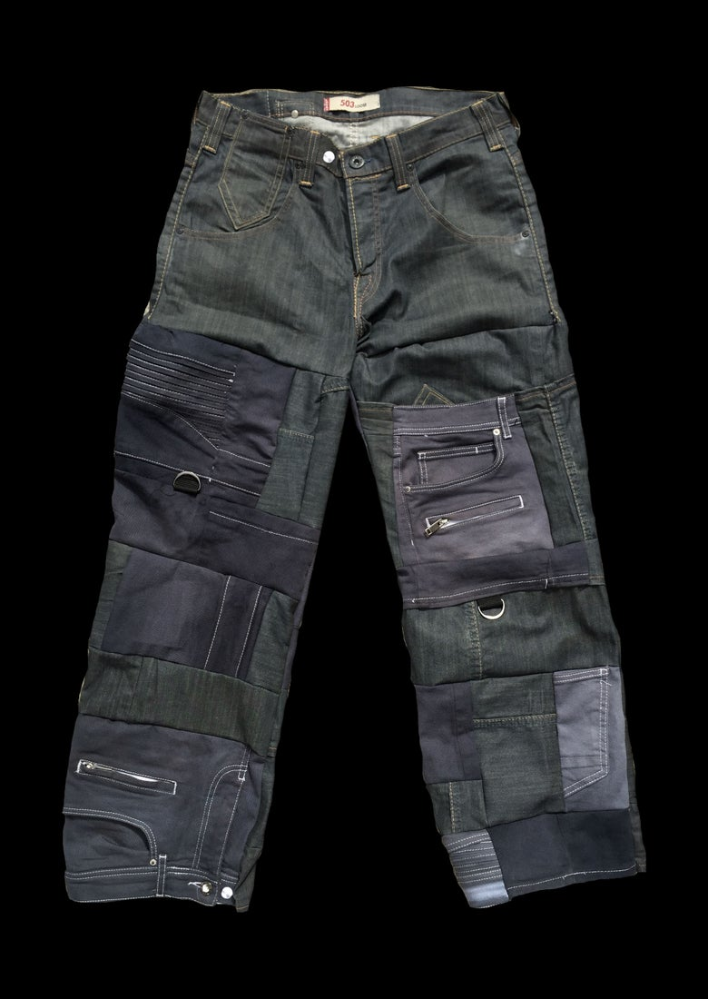 Image of DENIM PATCHWORK CARGO