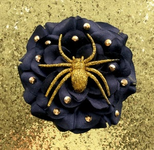 Image of Spooky Kooky Sparkle Spider Rose Hair Flower - Black Rose/Gold Spider