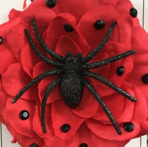 Image of Spooky Kooky Sparkle Spider Rose Hair Flower - Red Rose/Black Spider