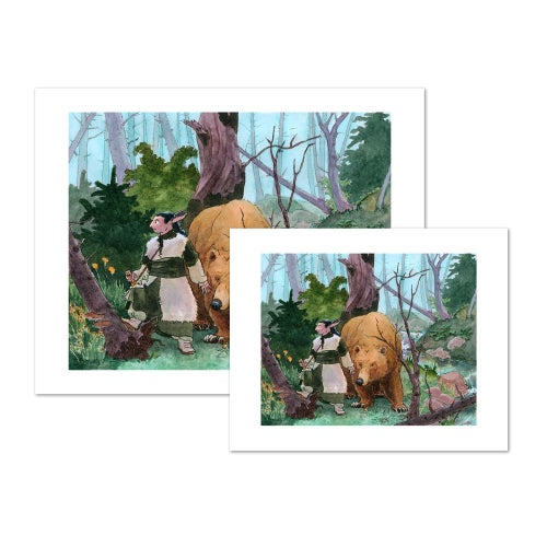 Image of Orin and the Bear - Art Prints and Original Watercolour Painting