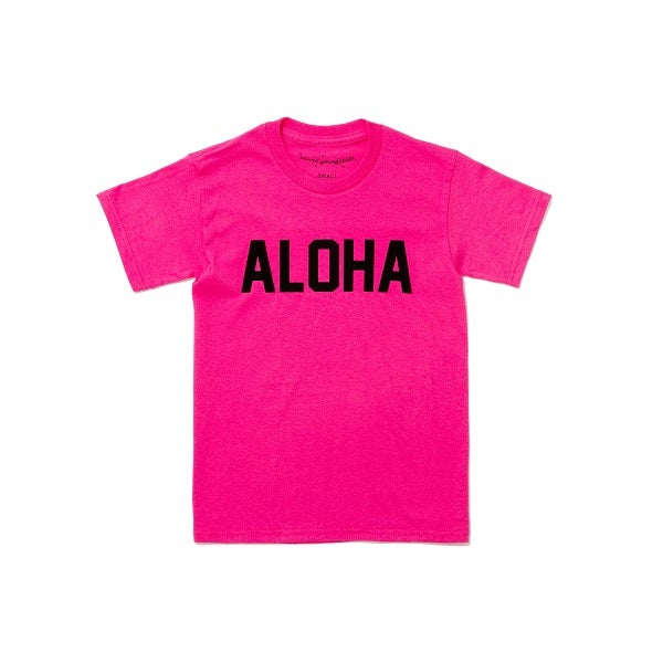 Image of ALOHA TEE HOT PINK AND BLACK