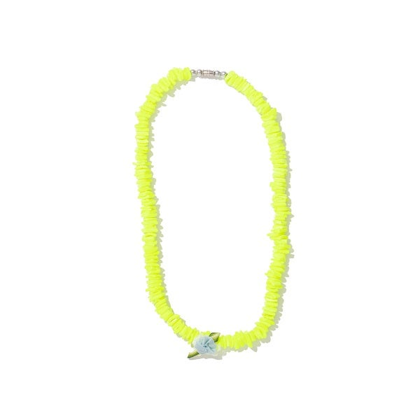 Image of NEON YELLOW PUKA SHELL NECKLACE WITH SEAFOAM FLOWER