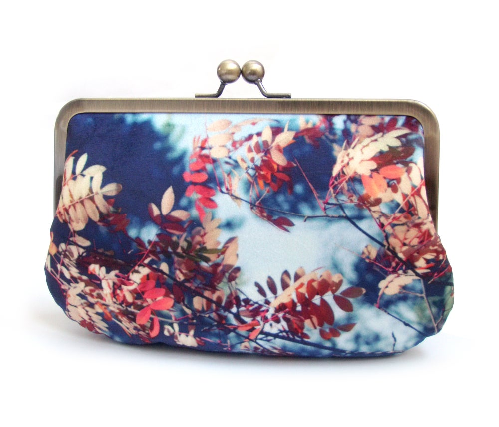 Image of Autumn leaves velvet clutch bag