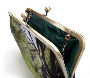 Image of Woodland walk, velvet clutch bag