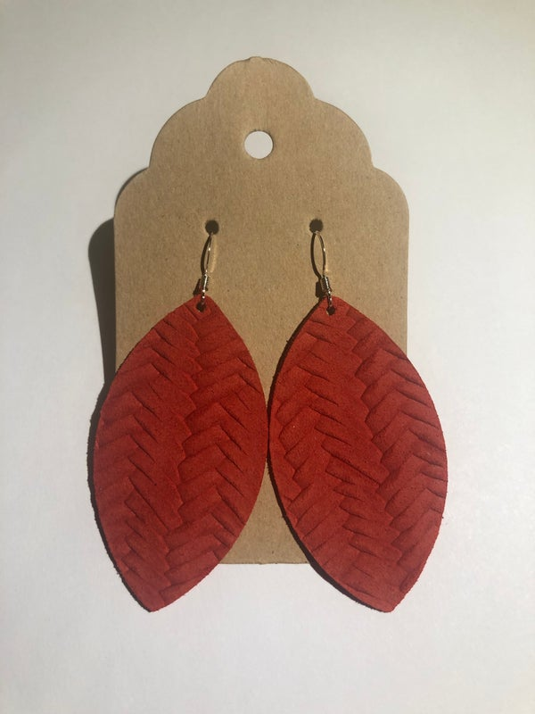 Image of Leather Earrings - Tomato Red Fishtail Braid Leaf Shape