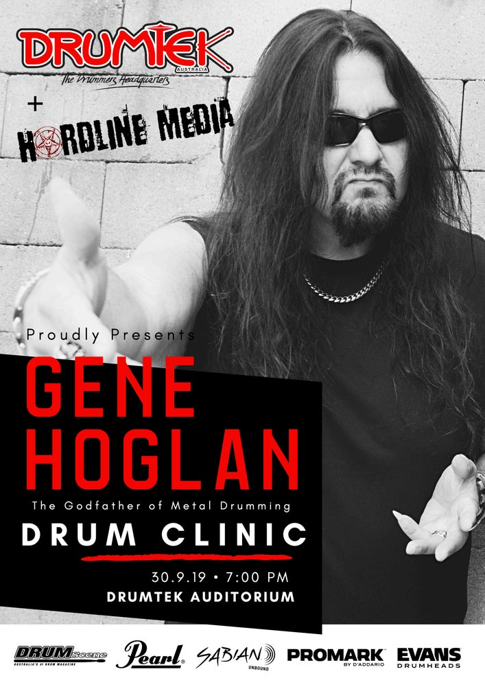 Image of TICKET - GENE HOGLAN DRUM CLINIC - MELBOURNE, DRUMTEK AUDITORIUM - MON 30 SEP