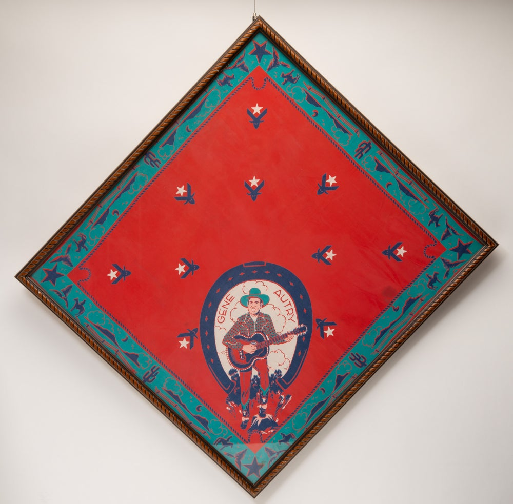 Image of Vintage 1940s Framed Gene Autry Bandana Western Cowboy Art Snuff Garrett Estate