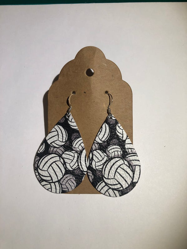 Image of Leather Earrings - Volleyball Teardrop