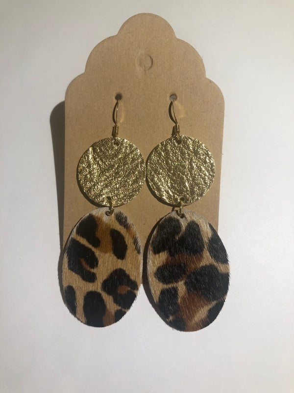 Image of Leather Earrings - Dot and Oval Gold and Hair On Cheetah Print
