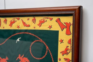 Image of Vintage 1940s framed Gene Autry bandana Western Cowboy Art from Snuff Garrett Estate