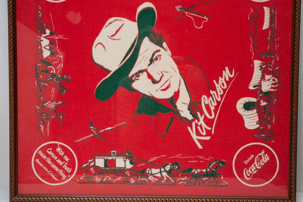 Image of Vintage 1950's Kit Carson bandana Western Cowboy Art   Coca Cola Advertisement from the Snuff Garret