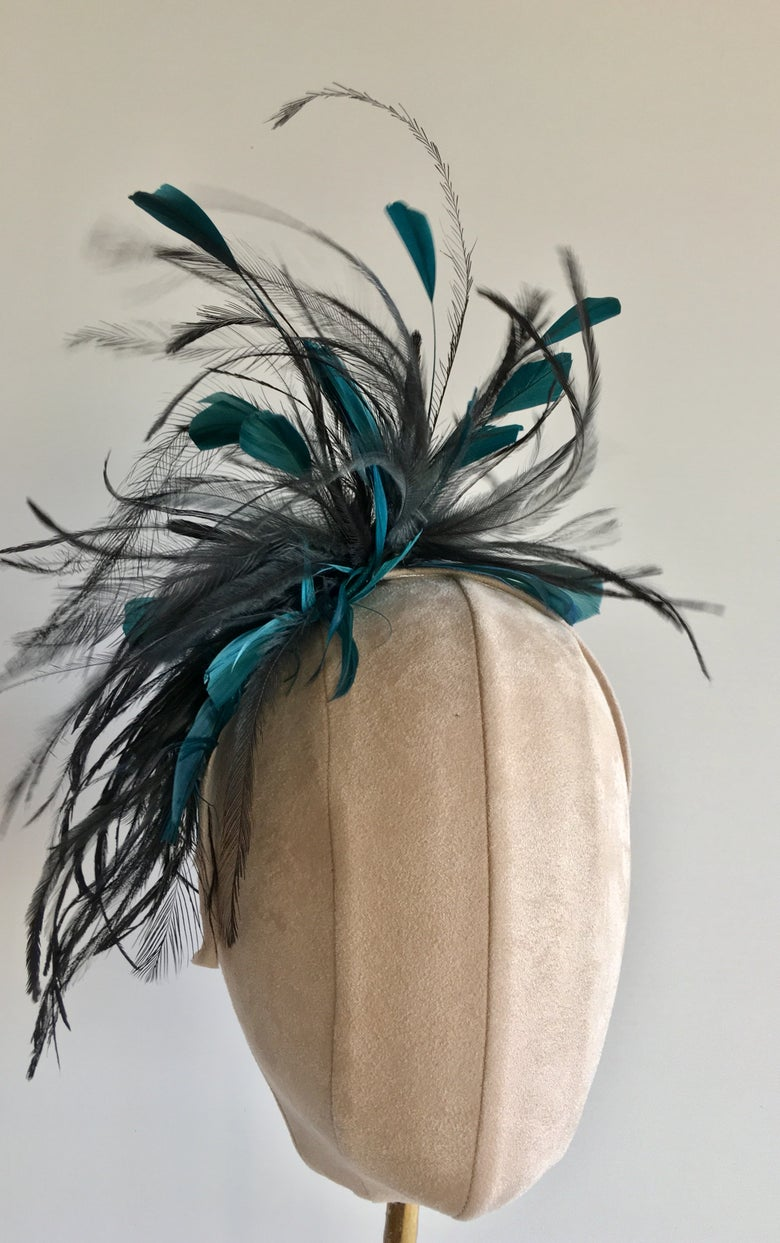 Image of Teal feather headpiece