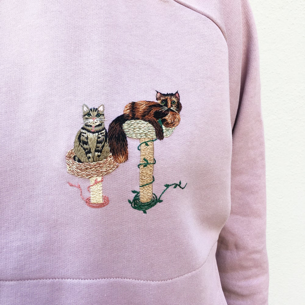 Image of Customized pet portrait, hand embroidered on 100% organic cotton sweatshirt, GOTS certified