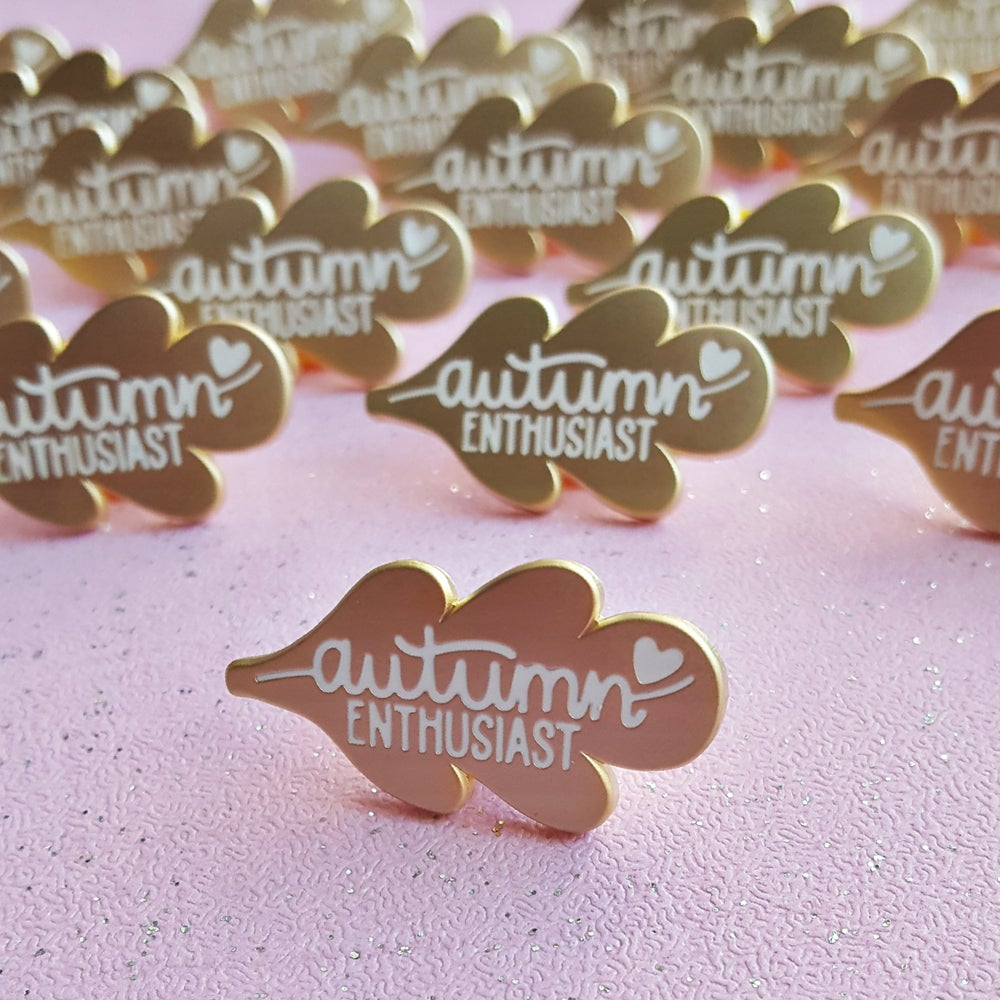 Image of Autumn Enthusiast - Matte Gold Hard Enamel Pin