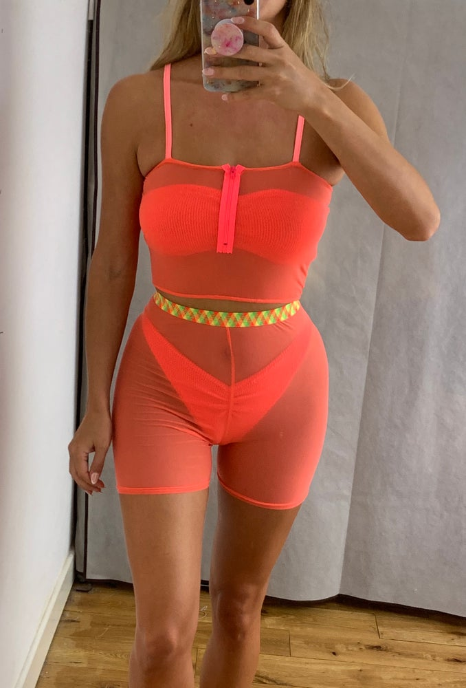 Image of Neon Coral Zip Cami Co-Ord