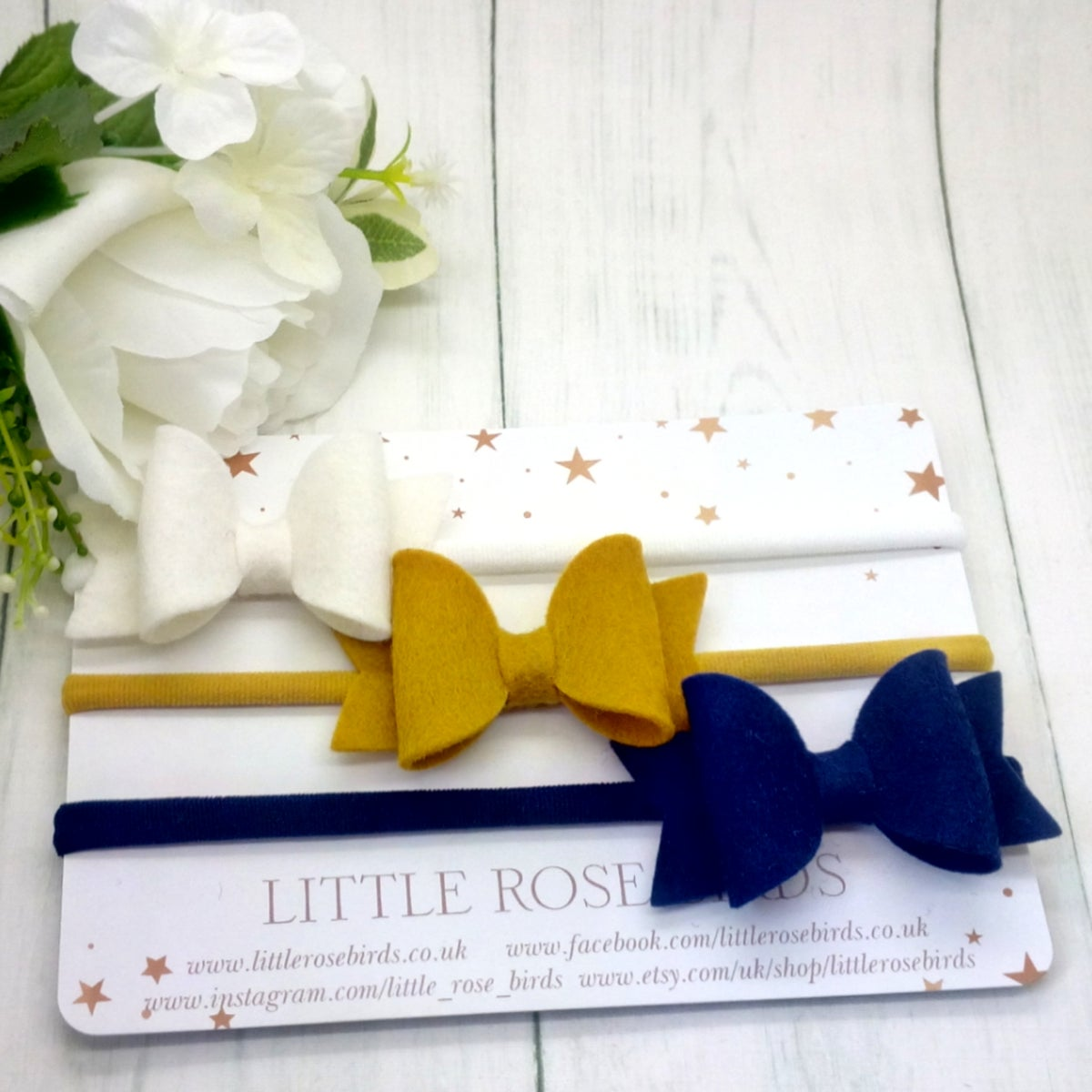Image of SET OF 3 White/Mustard/Navy Bows on Headbands or Clips