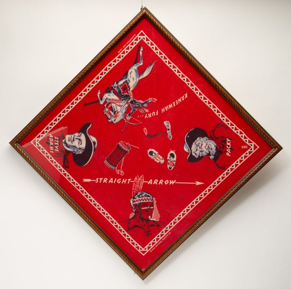 Image of Vintage 1949 framed Straight Arrow Radio Program Bandana Nabisco Product Tie In   Western Cowboy Art