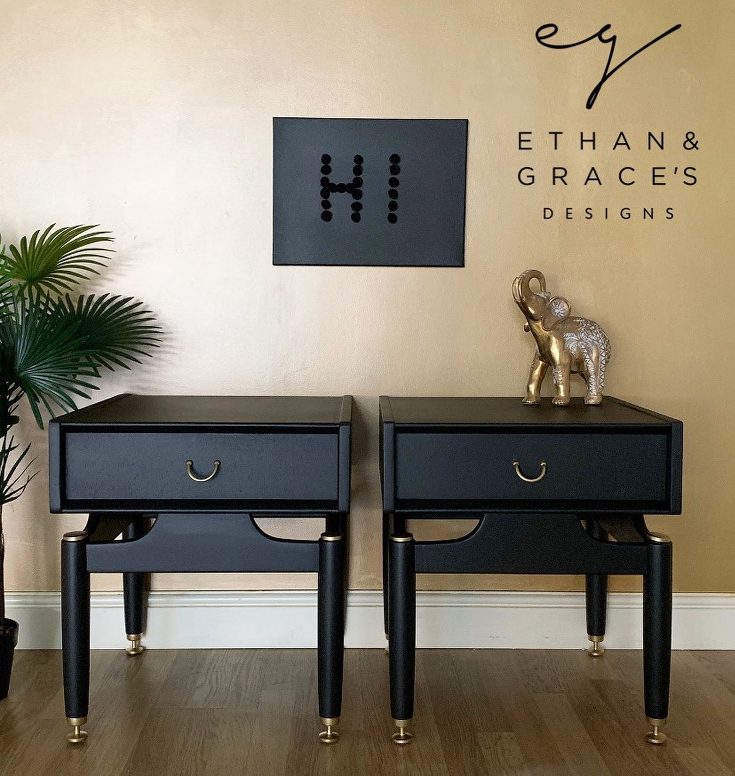 Image of A pair of black G Plan bedside/side tables