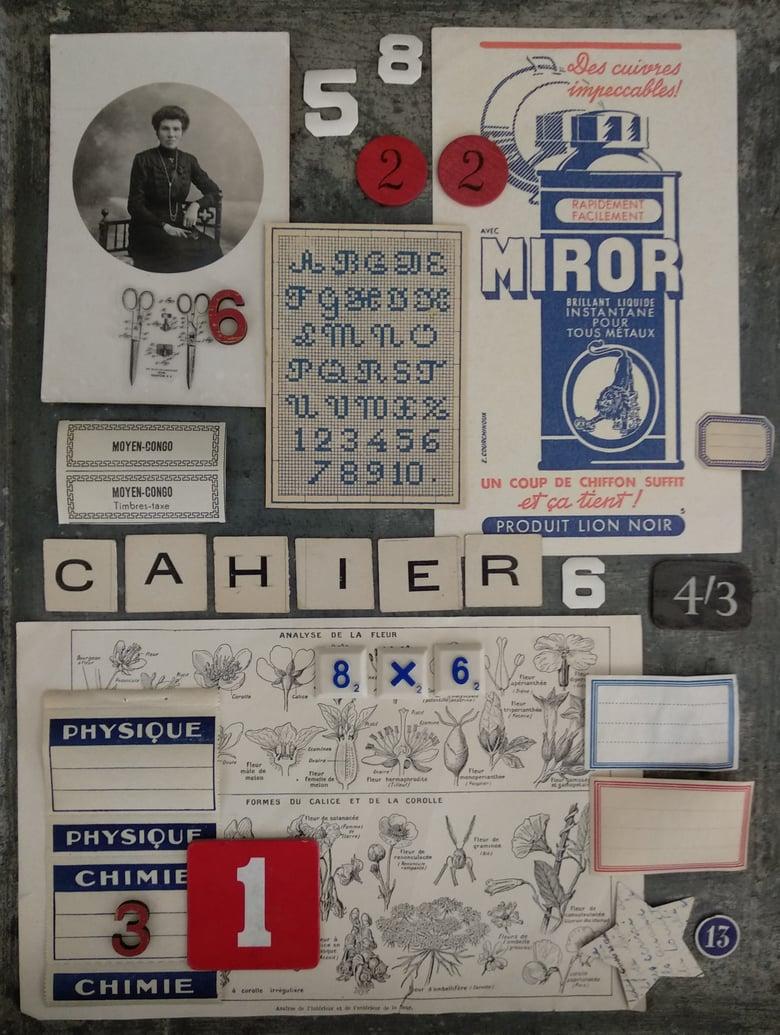Image of Ephemera pour scrapbooking. Ecole en bleu, blanc, rouge