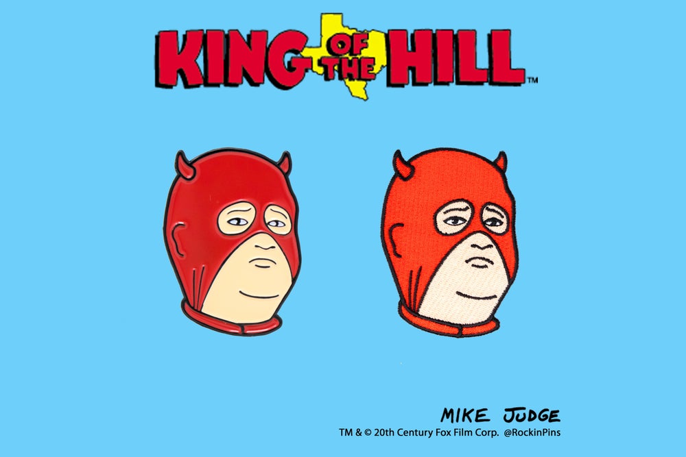 Image of King of the Hill - Bobby Hill Devil Head Pin and Patch Combo