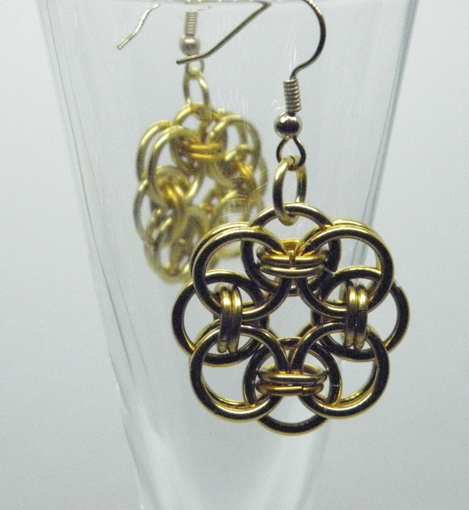 Image of Earrings, Celtic Knot Chainmaille Weave Dangles