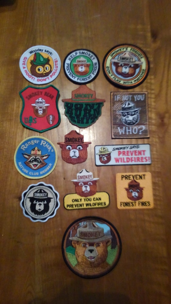 Image of Smokey the Bear embroidered patches - many different styles or entire collection of Patcher's dozen!