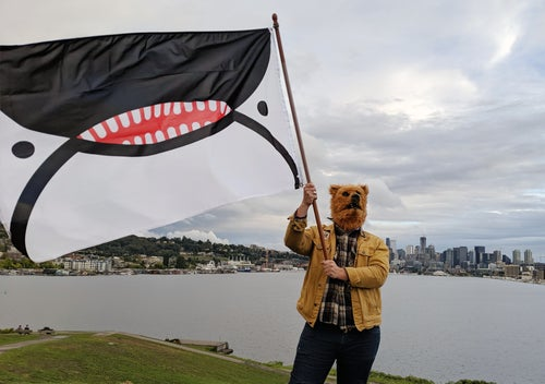 Image of Orca Face Flag of Seattle