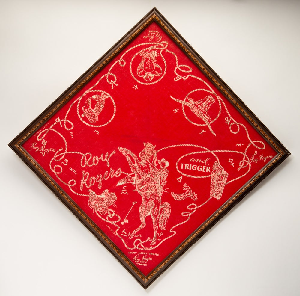 Image of Vintage framed Roy Rogers and Trigger bandana   1950s Western Movie Cowboy Art from Snuff Garrett Es