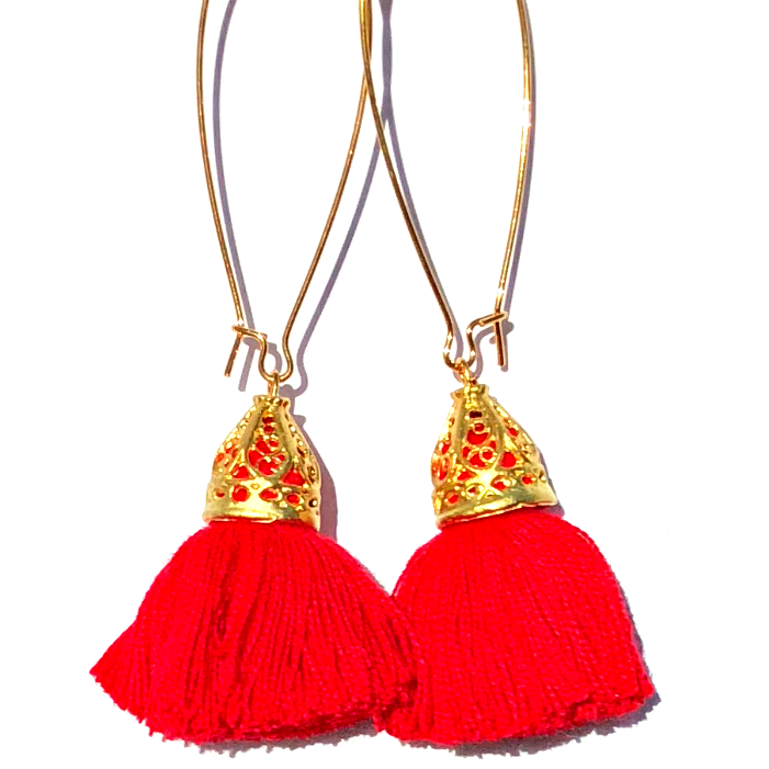Image of Ltd Ed - Gold Waikiki Tassel Earrings - Red