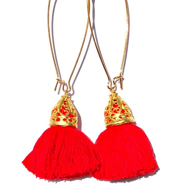 Image of Ltd Ed - Gold Waikiki Tassel Earrings - Red