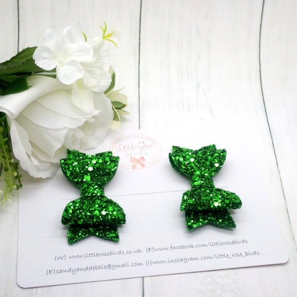 Image of Green Glitter Pigtail Set