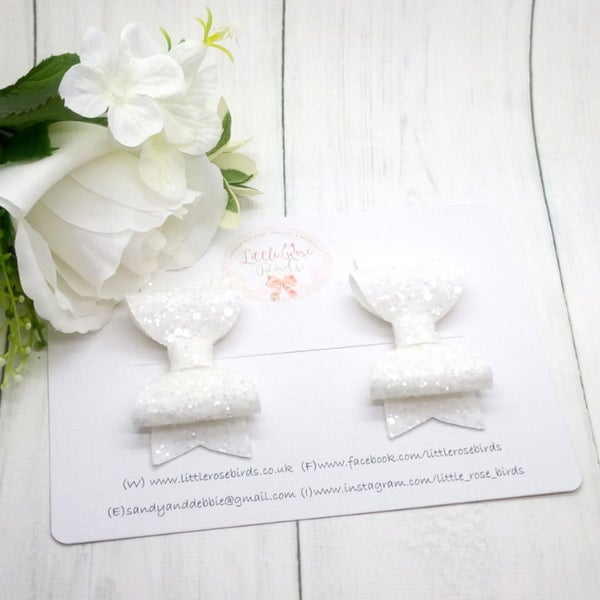 Image of White Glitter Pigtail Set